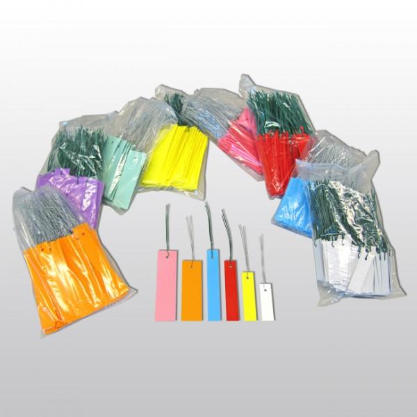 F15-Hängeetiketten mit Draht aus PVC 12x3 cm