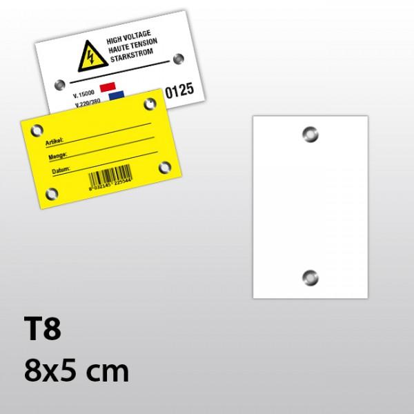 T8-Hängeetiketten aus Kunststoff mit zwei Ösen 8x5 cm