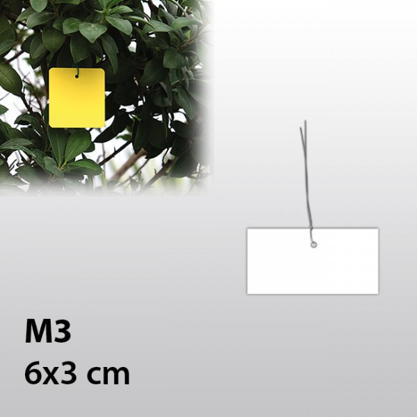 M3-Hängeetiketten mit Draht 6x3 cm